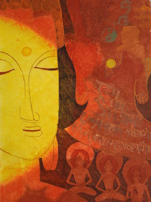 BUDHDHAA by KAJAL PANCHAL, Decorative Painting, Ink & Pastels on Paper, Prairie Sand color