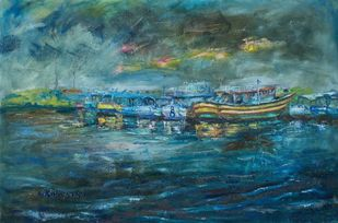 STORM by A.Sathya, Abstract Painting, Oil on Canvas, William color