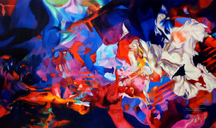 Colour of the Universe XXXV by Sumitava Maity, Abstract Painting, Oil on Canvas, Mahogany color
