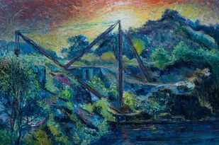 MACHINE by A.Sathya, Impressionism Painting, Oil on Canvas, Blue Dianne color