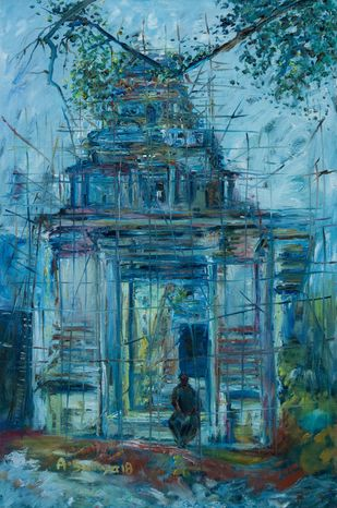 INCOMPLETE by A.Sathya, Impressionism Painting, Oil on Canvas, Ming color