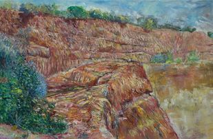 LAYERS by A.Sathya, Impressionism Painting, Oil on Canvas, Sand Dune color