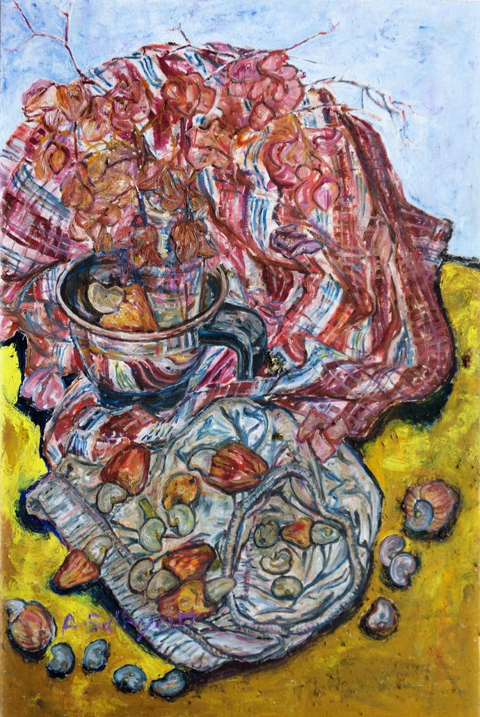 CASHEW FRUITS by A.Sathya, Abstract Painting, Oil and acrylic on Canvas, Burnished Brown color