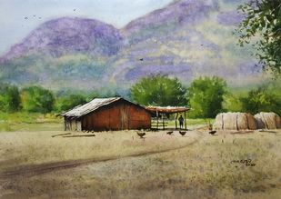 ' Rural Beauty ' by Niketan Bhalerao, Impressionism Painting, Watercolor on Paper, Pale Oyster color