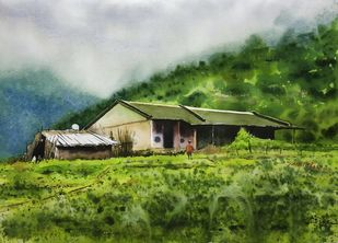 ' Monsoon Dairies' by Niketan Bhalerao, Impressionism Painting, Watercolor on Paper, Woodland color