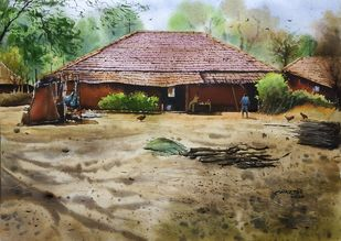 ' Rural House ' by Niketan Bhalerao, Realism Painting, Watercolor on Paper, Arrowtown color