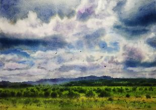 ' The Play Of Sky ' by Niketan Bhalerao, Impressionism Painting, Watercolor on Paper, Bombay color