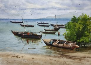 ' Routine Of Fishermen's ' by Niketan Bhalerao, Realism Painting, Watercolor on Paper, Silver Sand color