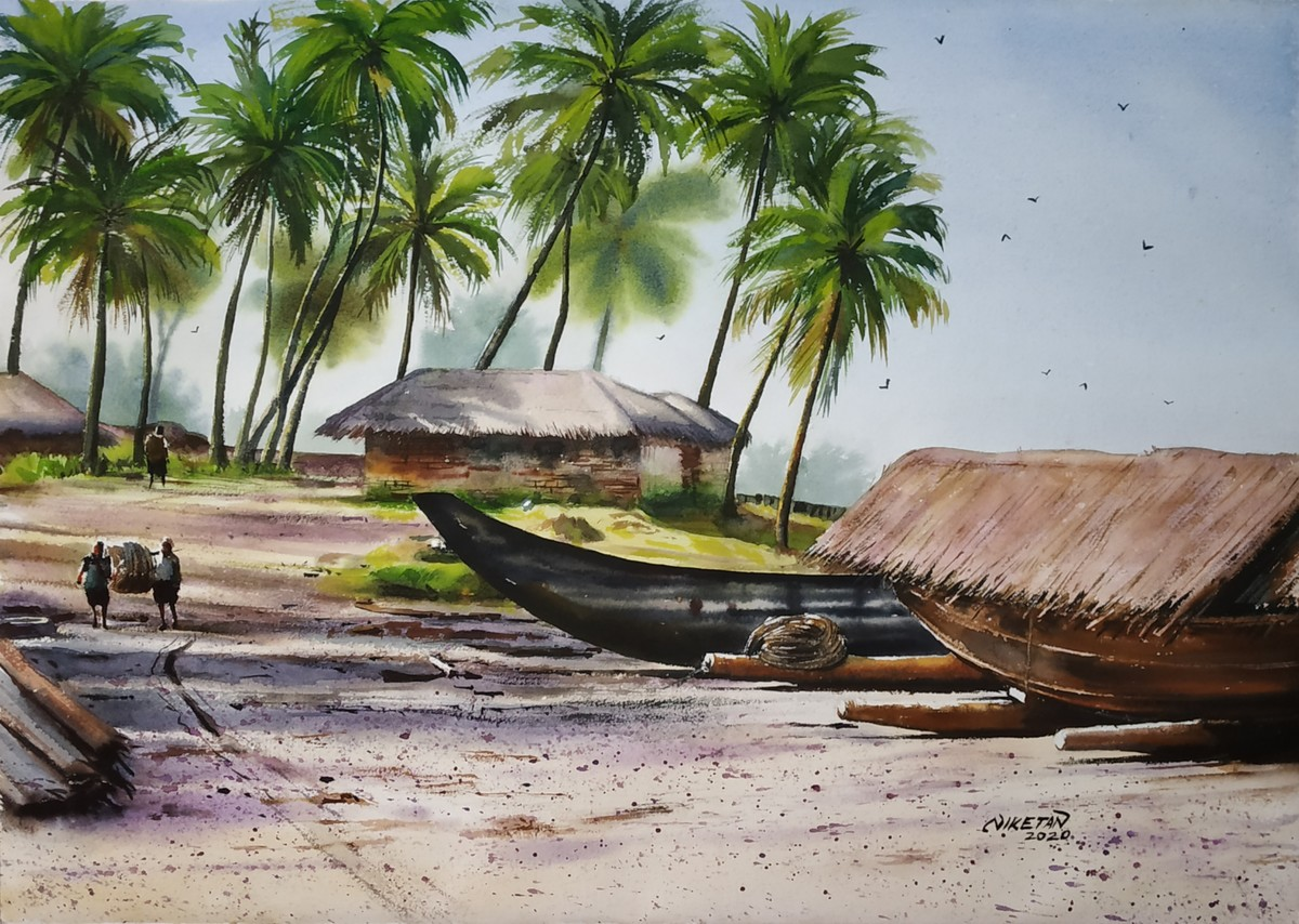 ' Coastal Hues' by Niketan Bhalerao, Illustration, Realism Painting, Watercolor on Paper, Cotton Seed color