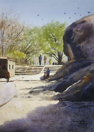 ' Near Pandav Leni ' by Niketan Bhalerao, Impressionism Painting, Watercolor on Paper, Eagle color