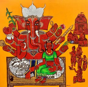Maha Ganpati by Nandini, Decorative Painting, Mixed Media, Tabasco color