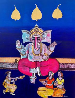 Ganesha Bhakti [dna16] by Nandini, Decorative Painting, Mixed Media on Canvas, Deep Koamaru color