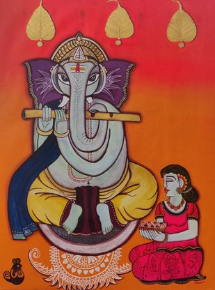 Ganesha Bhakti [dna15] by Nandini, Decorative Painting, Mixed Media on Canvas, Tuscany color