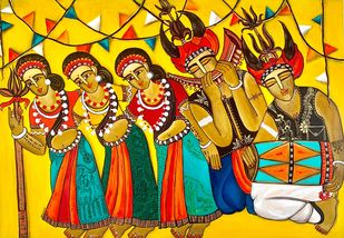 Chhattisgarhi Folk Dancers by Nandini, Expressionism Painting, Acrylic on Canvas, Rangitoto color