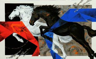 HORSE SERIES 114 by Devidas Dharmadhikari, Expressionism Painting, Acrylic on Canvas,