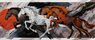 HORSE SERIES 150 by Devidas Dharmadhikari, Expressionism Painting, Acrylic on Canvas, Cocoa Brown color