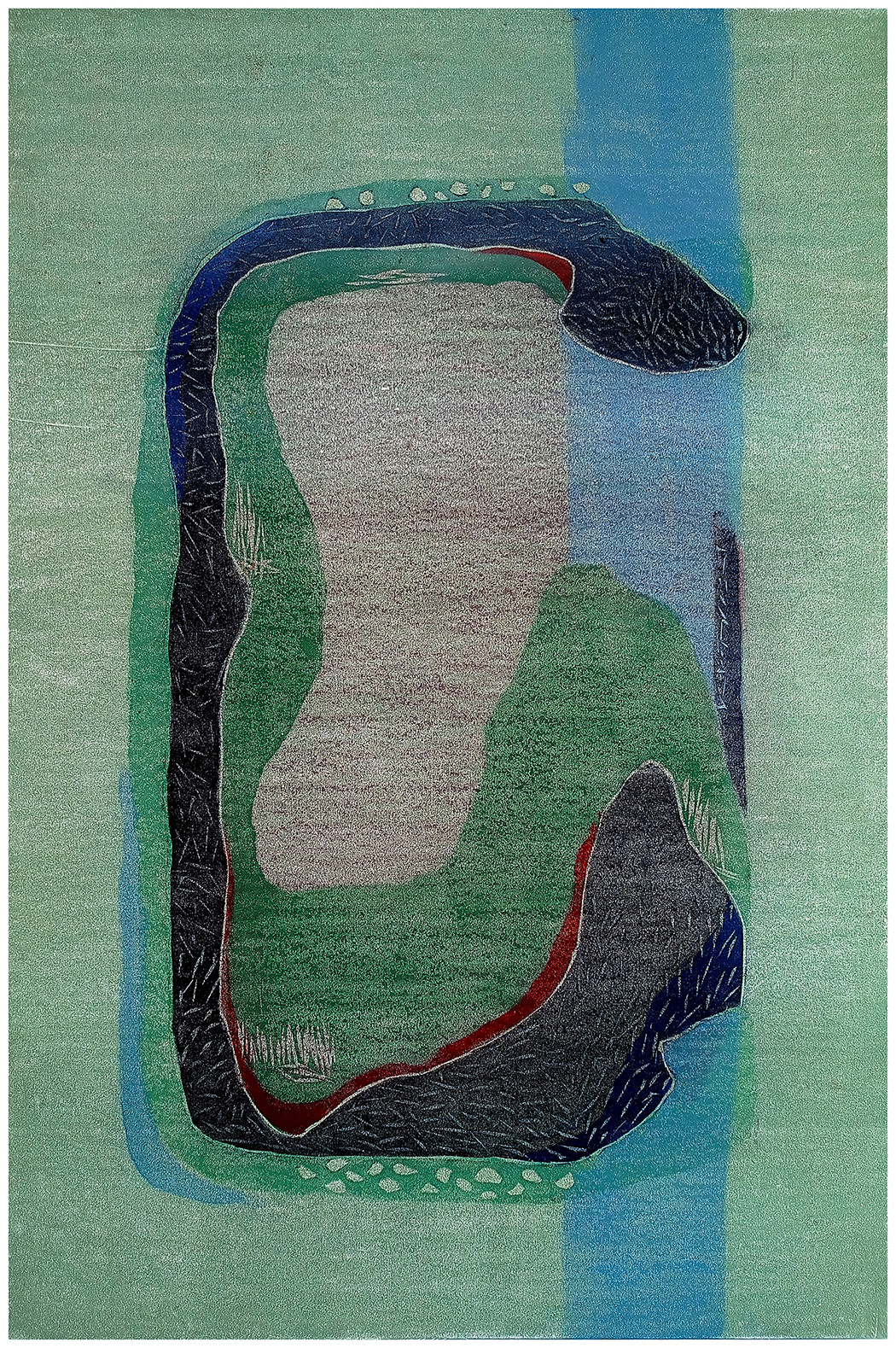 nature by ashwini patil, Abstract Printmaking, Ink on Paper, Blue Smoke color