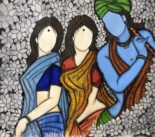 Kadambari by Mrinal Dutt, Expressionism Painting, Mixed Media on Canvas, Soft Amber color