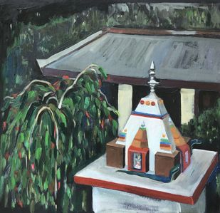Shiva's temple after the sunset by Luna Amerkel, Expressionism Painting, Oil on Paper, Cape Cod color