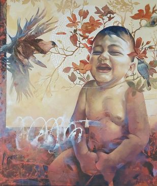 Nurture I by Ashis Mondal, Expressionism Painting, Acrylic on Canvas, Del Rio color