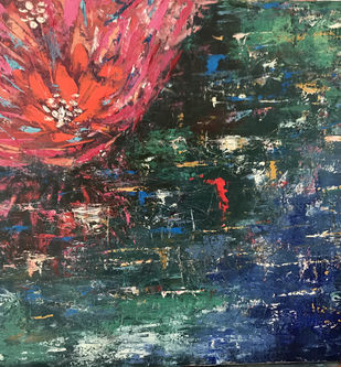 Waterlillies by Simmi Khanna, Expressionism Painting, Oil on Canvas, Rock color