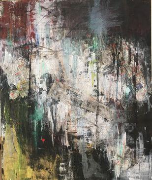 Sheesha by Simmi Khanna, Abstract Painting, Mixed Media on Canvas, Armadillo color