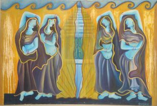 FOUR LADIES WITH GHUNGHAT by Pritika Seda, Expressionism Painting, Oil on Canvas, Tussock color