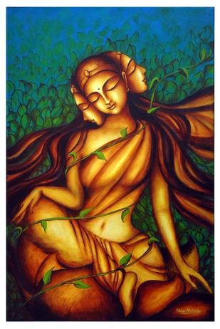 Srishti by Uma Makala, Expressionism Painting, Acrylic on Canvas, Outer Space color