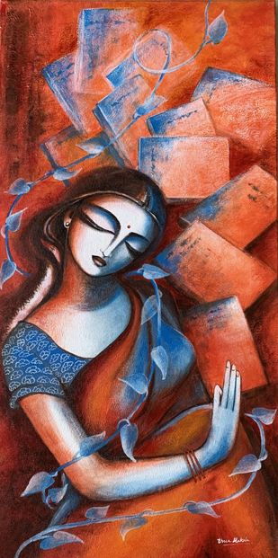Jnaanam by Uma Makala, Expressionism Painting, Acrylic on Canvas, Ship Gray color