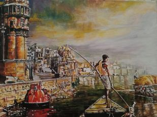 Benaras by Sriparna Ghose, Impressionism Painting, Acrylic & Ink on Canvas, Pale Oyster color