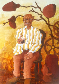 Tukic tea by DEB SANJOY DUTTA, Expressionism Painting, Acrylic on Canvas, Parchment color