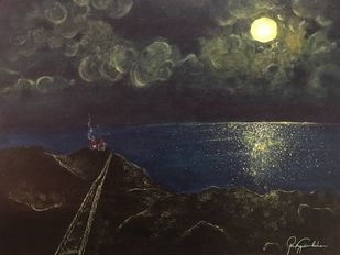 Mystical Night by the Sea by Varsha, Impressionism Painting, Acrylic on Canvas, Dune color