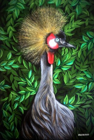 Black crowned crane by Manvee Singh, Expressionism Painting, Acrylic on Canvas, Green Kelp color