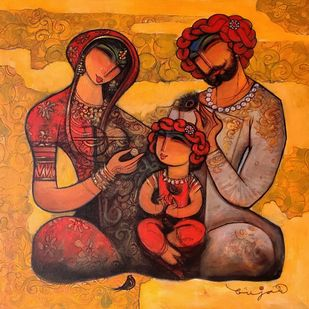 Family-31. by Ramesh p.gujar, Expressionism Painting, Acrylic on Canvas, Brandy Punch color