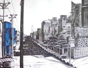 Street of Music by divya chinni, Illustration Drawing, Acrylic & Ink on Paper, Scarpa Flow color