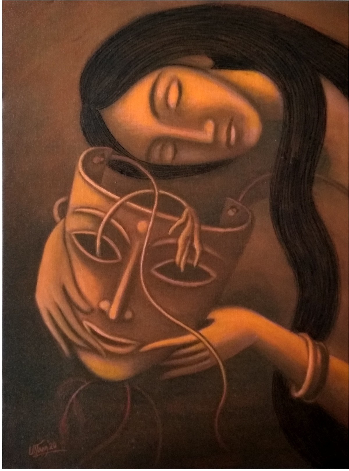 Broken Dream by Uttam Bhattacharya, Expressionism Painting, Mixed Media on Canvas, Cork color