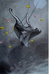 Dream Flyer by Uttam Bhattacharya, Expressionism Painting, Mixed Media on Canvas, Black Coral Pearl color