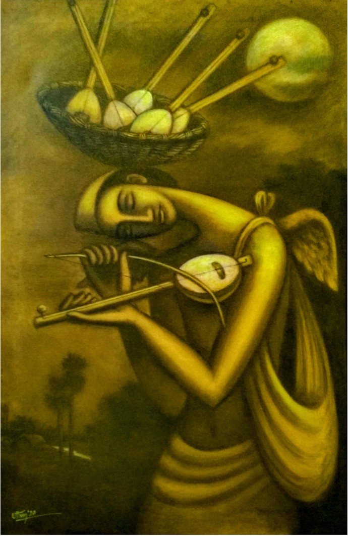 Dream Seller 2 by Uttam Bhattacharya, Expressionism Painting, Mixed Media on Canvas, Cafe Royale color