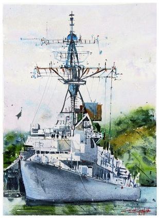 Warship on the way by Sweta Kaushik, Impressionism Painting, Watercolor on Paper, Iron color