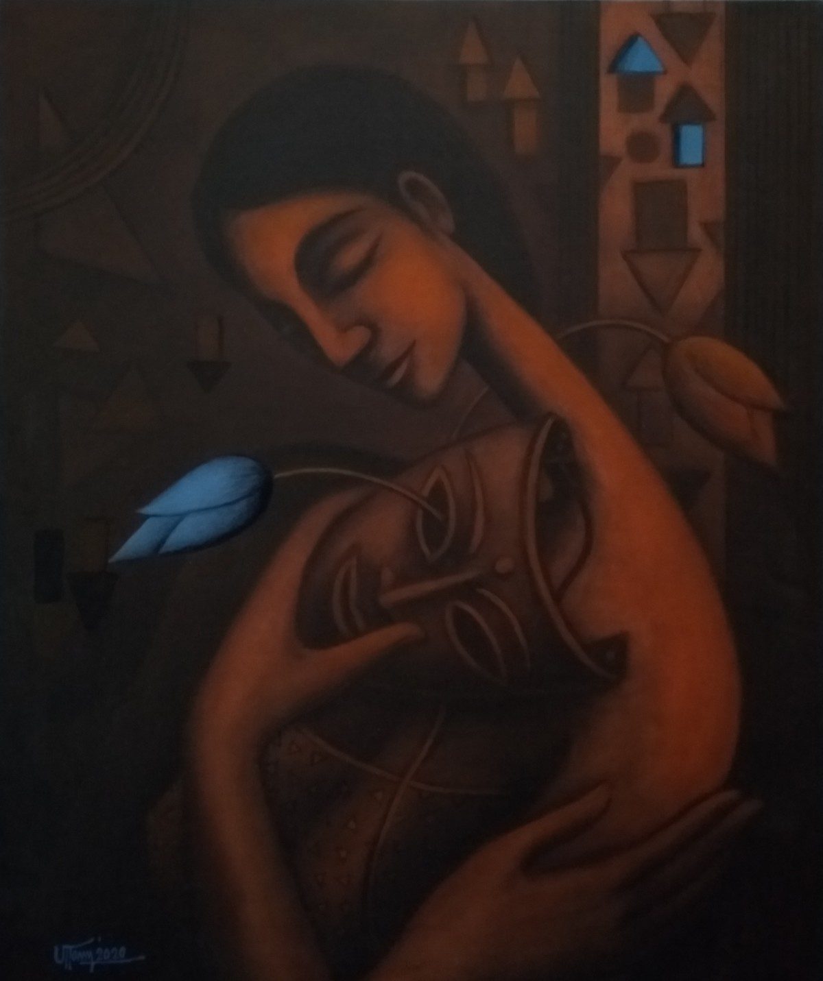 Blue Dream by Uttam Bhattacharya, Expressionism Painting, Mixed Media on Canvas, Licorice color