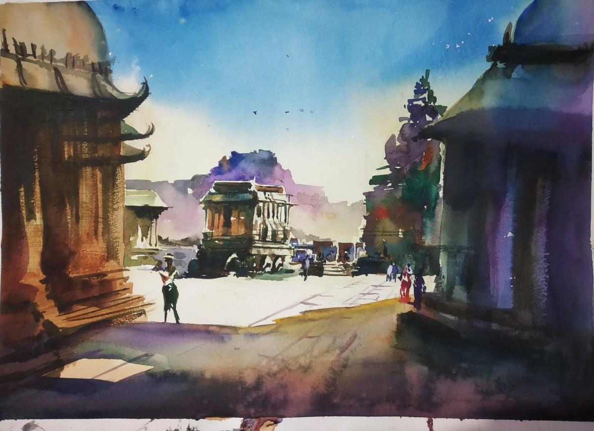Hampi Bangalore India by Santosh Gorai, Impressionism Painting, Watercolor on Paper, Sisal color