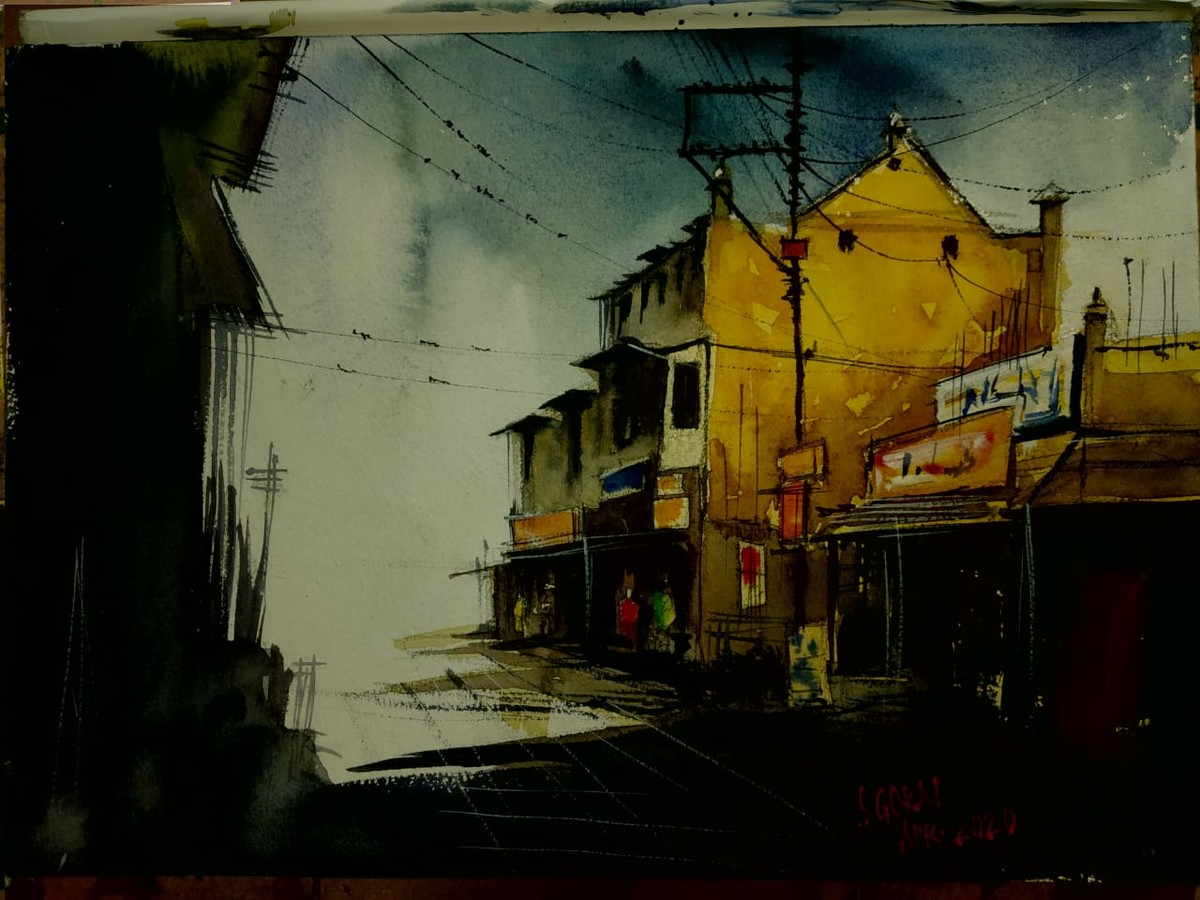 Cloudy Evening by Santosh Gorai, Impressionism Painting, Watercolor on Paper, Gold Fusion color