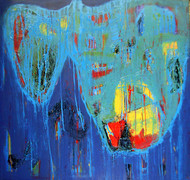 Untitled by Mugdha Joshi, Abstract Painting, Mixed Media on Canvas, Steel Blue color
