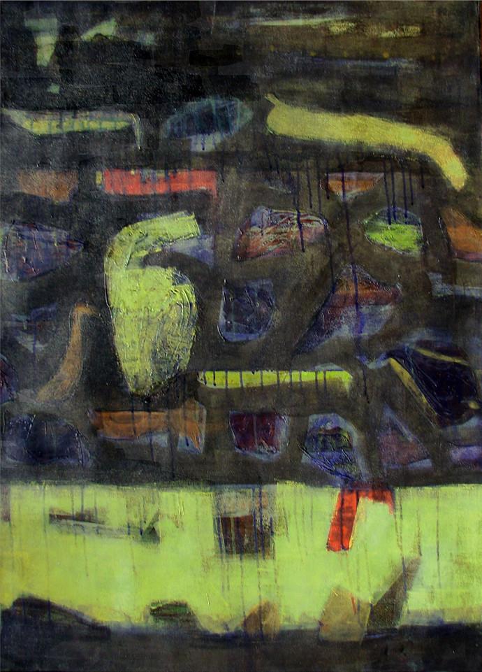Untitled by Mugdha Joshi, Abstract Painting, Acrylic on Canvas, Tuatara color