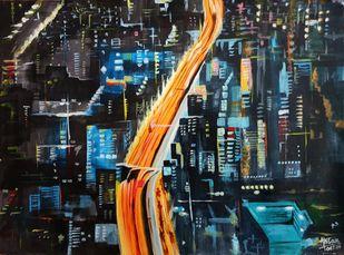 Hope by Ahsan Khan, Abstract Painting, Acrylic on Acrylic Sheet, Shark color