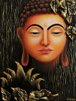Buddha Painting by Kiran Singh, Expressionism Painting, Acrylic on Canvas, Oil color