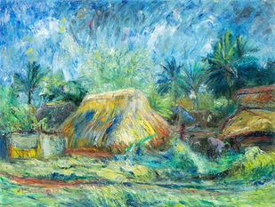 VILLAGE HUT by A.Sathya, Impressionism Painting, Oil on Canvas, Oxley color