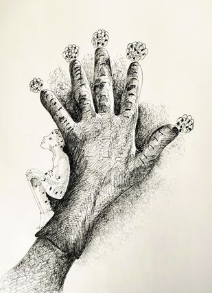 Pandemic times 2 by anjali kaul, Illustration Drawing, Ink on Paper, Merlin color