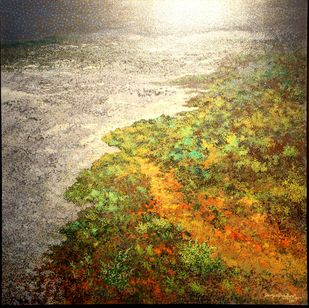 Seashore by Surya Prakash, Expressionism Painting, Acrylic on Canvas, Dirt color