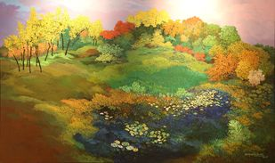 Landscape Acrylic by Surya Prakash, Impressionism Painting, Acrylic on Canvas, Dallas color